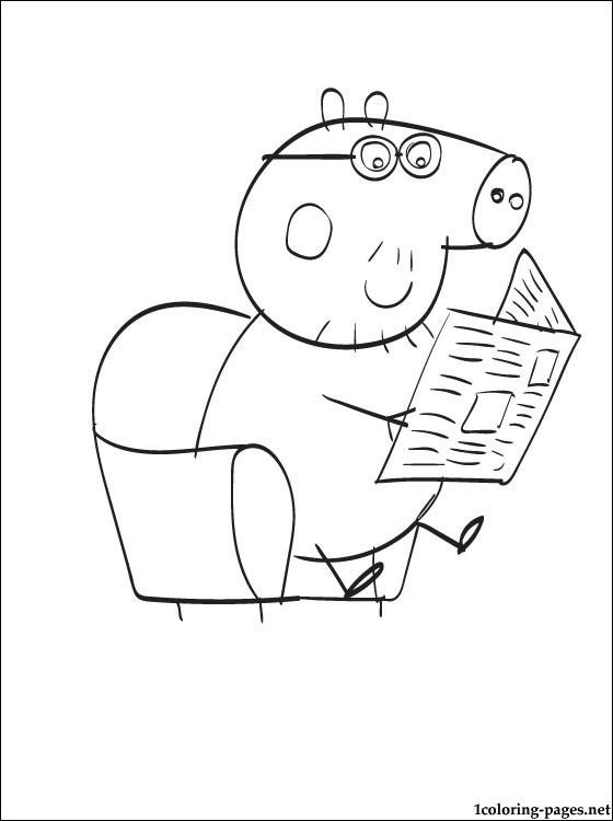 Fathers Peppa Pig Birthday Coloring Pages