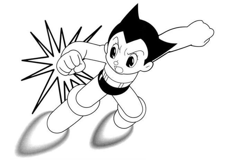 Fighting Astro Boy Printable Cartoon Coloring Pages