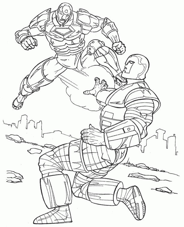 Fighting Iron Man Coloring Pages To Print