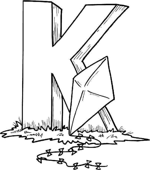 Finding Letter K With Kite Coloring Page