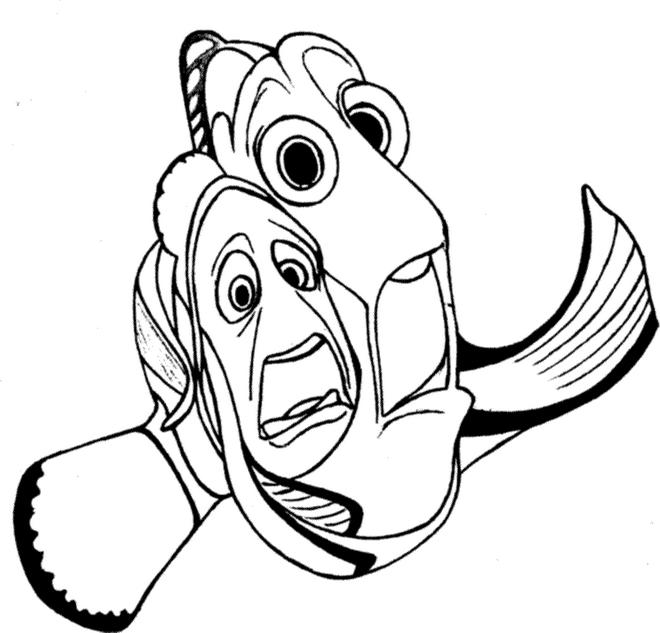 Finding Nemo Coloring Pages Marlin And Dory Scared