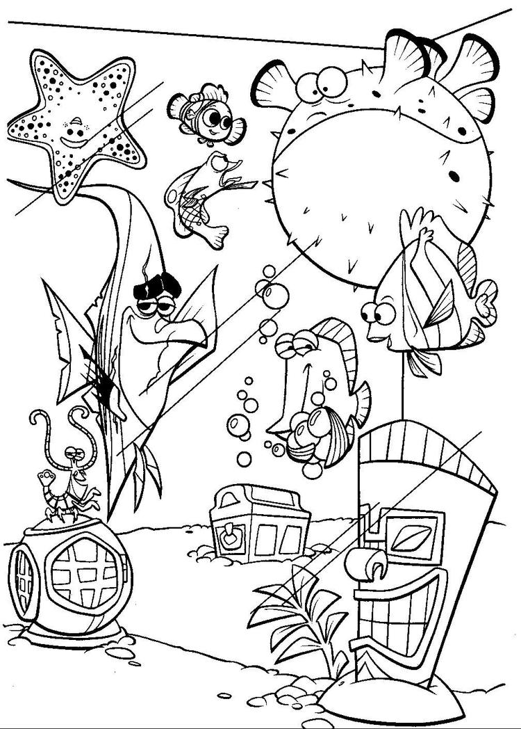 Finding Nemo Coloring Pages Nemo And Fish Tank Gang