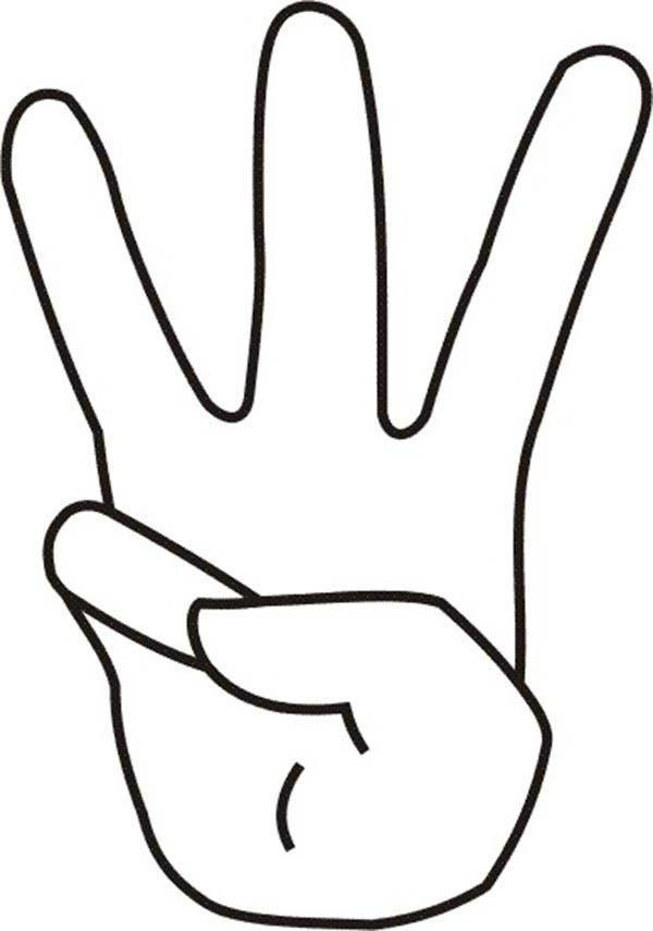 Finger Count To Number 3 Coloring Page
