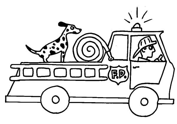 Fire Truck Coloring Pages With Dog