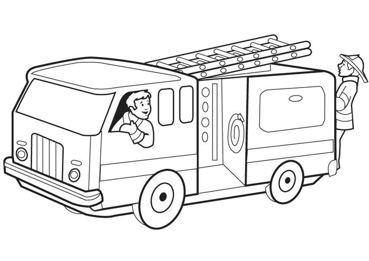 Fire Truck Coloring Pages With Firefighters