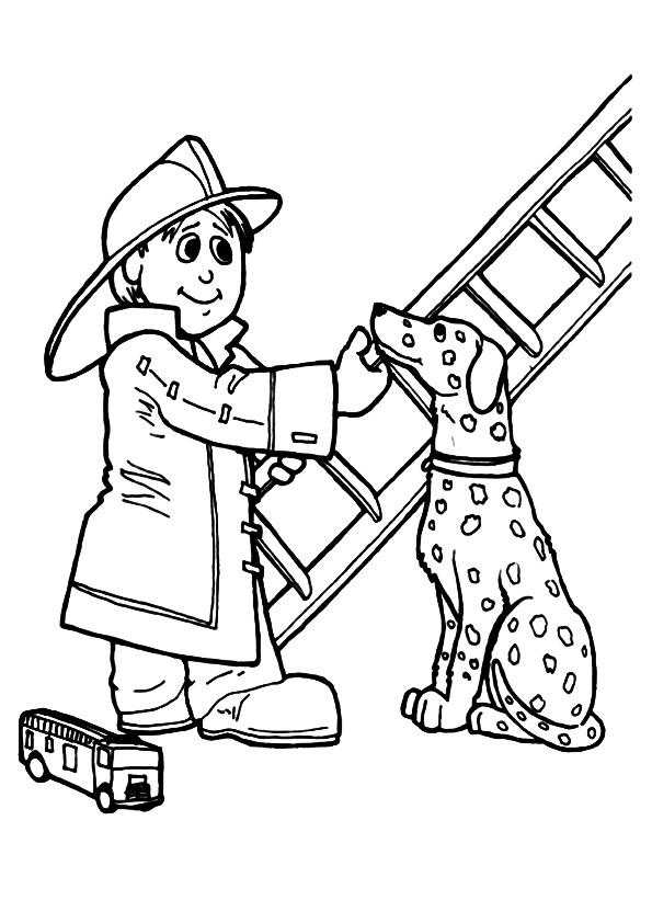 Firefighter coloring pages and dalmatian