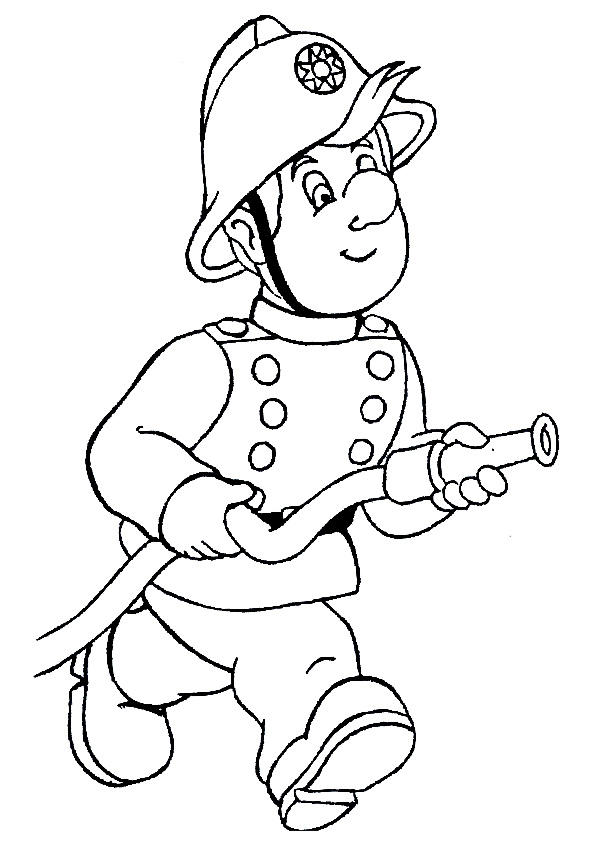 Firefighter Coloring Pages Holding Hose