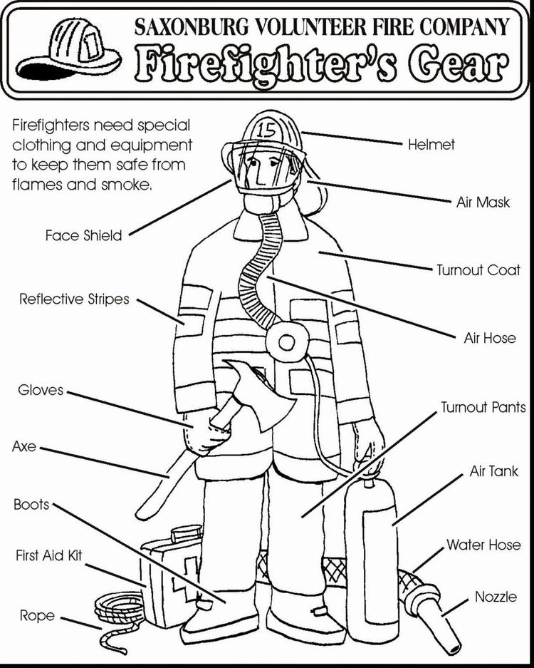 Firefighter Equipment And Uniform Coloring Pages