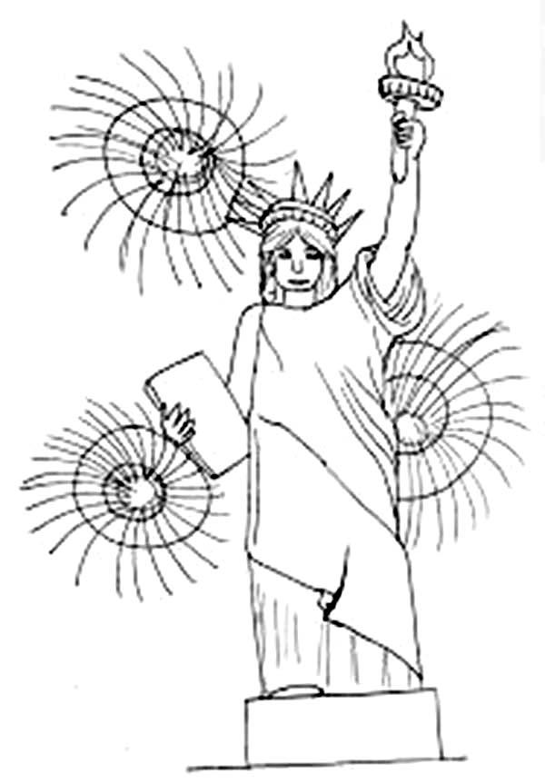 Fireworks Above Liberty Statue On 4th July Independence Day Coloring Page