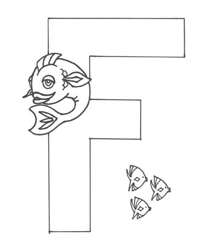 Fish Free Alphabet Coloring Pages Letter F