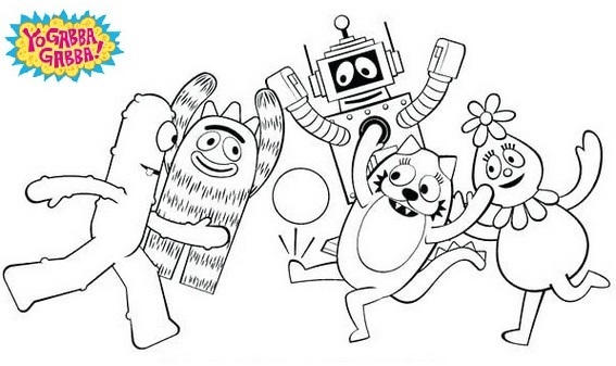 Five Costumed Toys Come To Life Yo Gabba Gabba Coloring Pictures