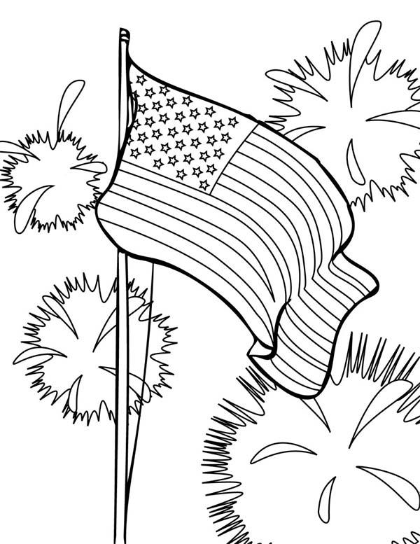 Flag And Fireworks 4th July Independence Day Coloring Page