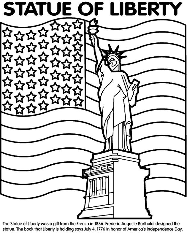 Flag And Statue Of Liberty Coloring Page