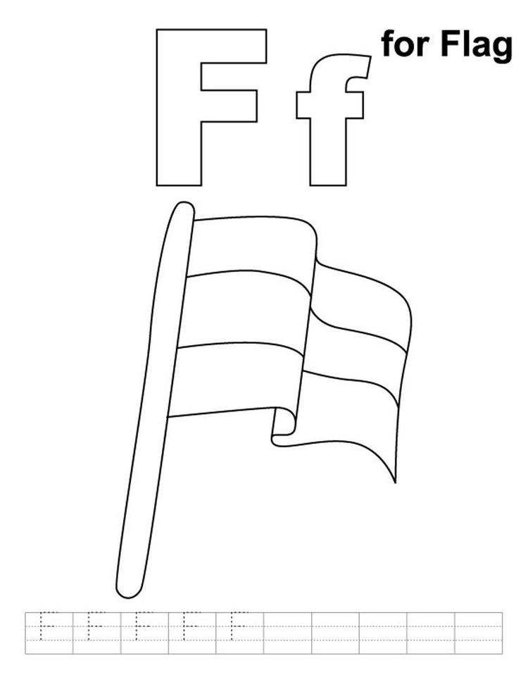 Flag Free Alphabet Coloring Pages