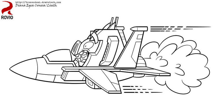 Flight Of Angry Bird Transformers Bumblebee Coloring Pages