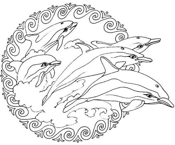 Flippers Jumping From The Sea Mandala Animal Coloring Pages