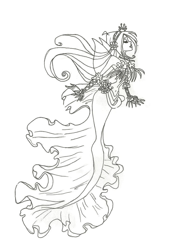Flora Realistic Mermaid Coloring Pages