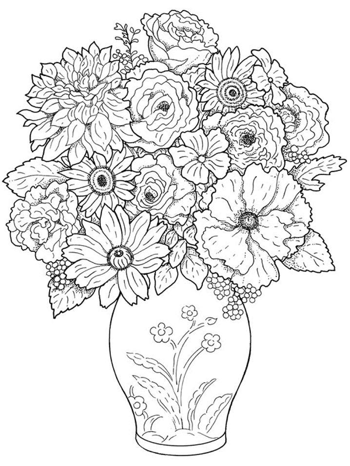 Floral Coloring Pages In A Vase