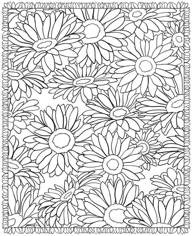 Floral Coloring Pages Sunflowers