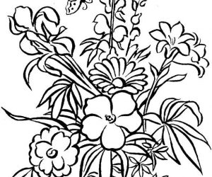 Floral coloring pages with leaves and butterfly