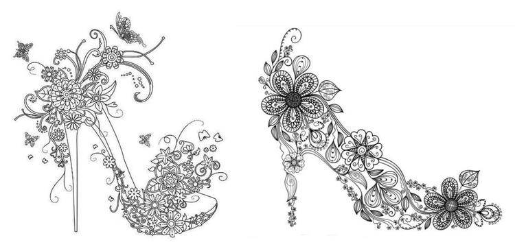 Floral High Heels Shoes Coloring Page