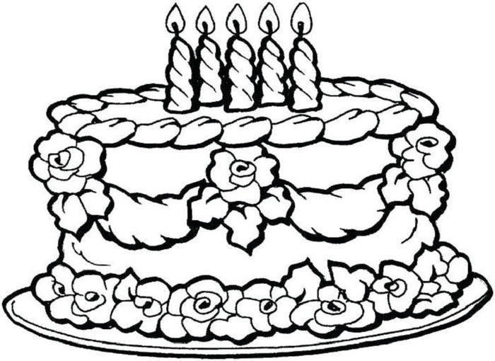 Flower Birthday Cake Coloring Pages