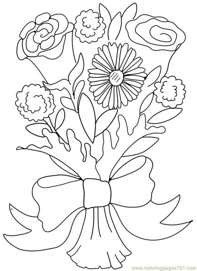 Flower Bouquet For Wedding Coloring Page