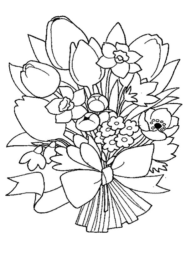 Flower Bouquet Print Out Drawing