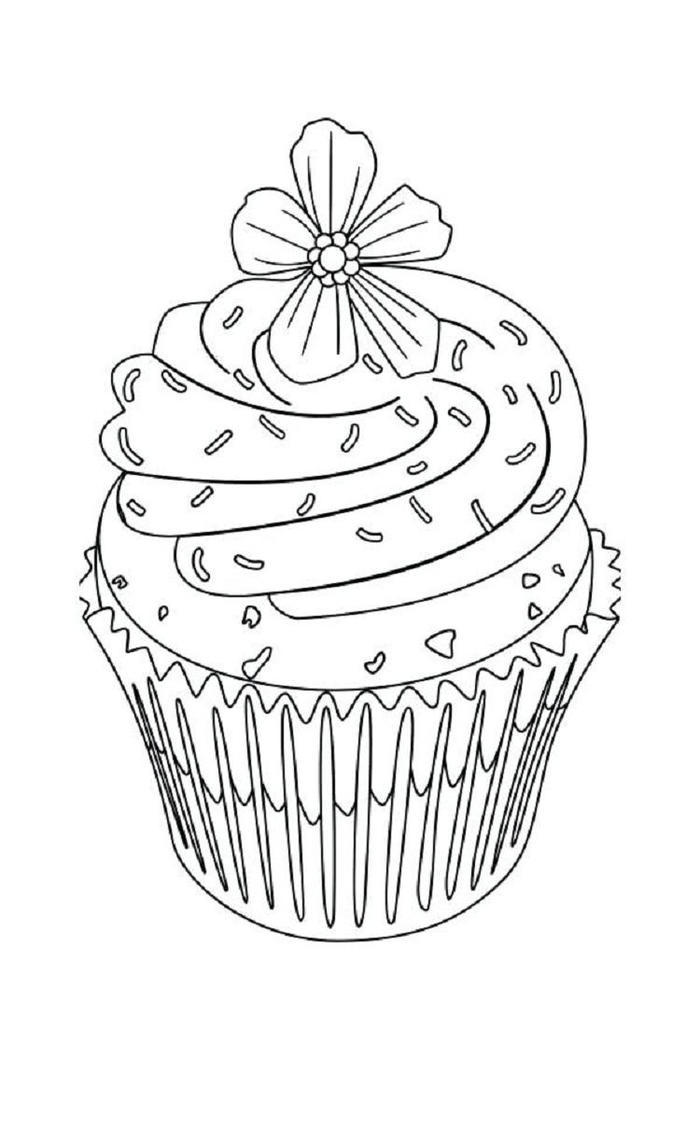 Flower Cupcakes Coloring Pages