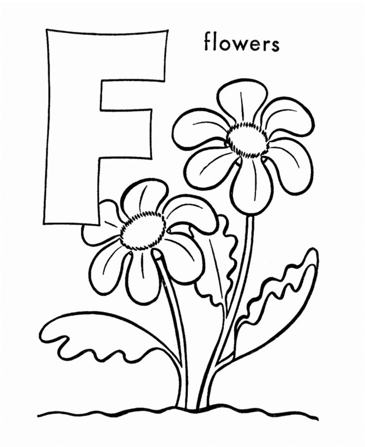 Flower Free Alphabet Coloring Pages Printable