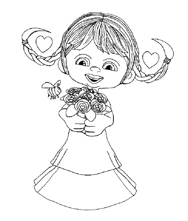 Flower Girl Coloring Book Pages
