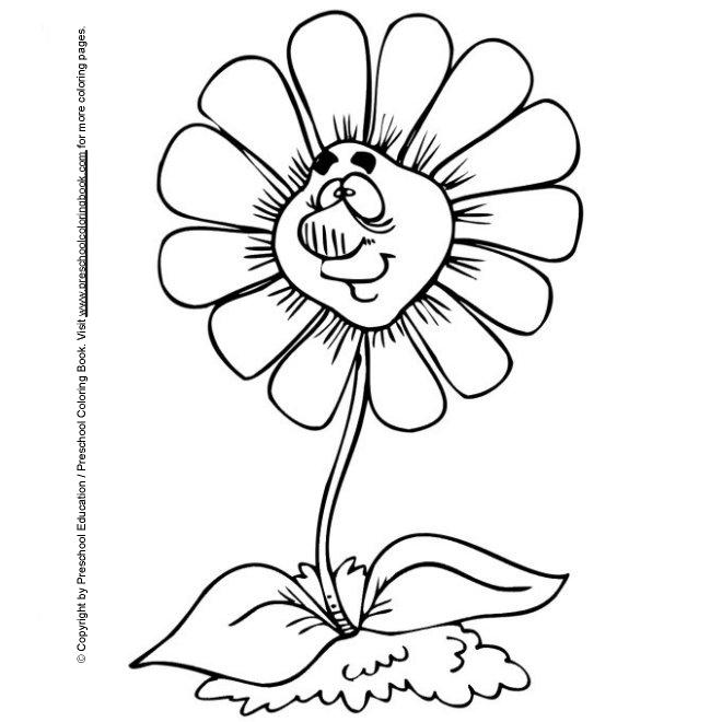 Flower Preschool Coloring Pages Spring