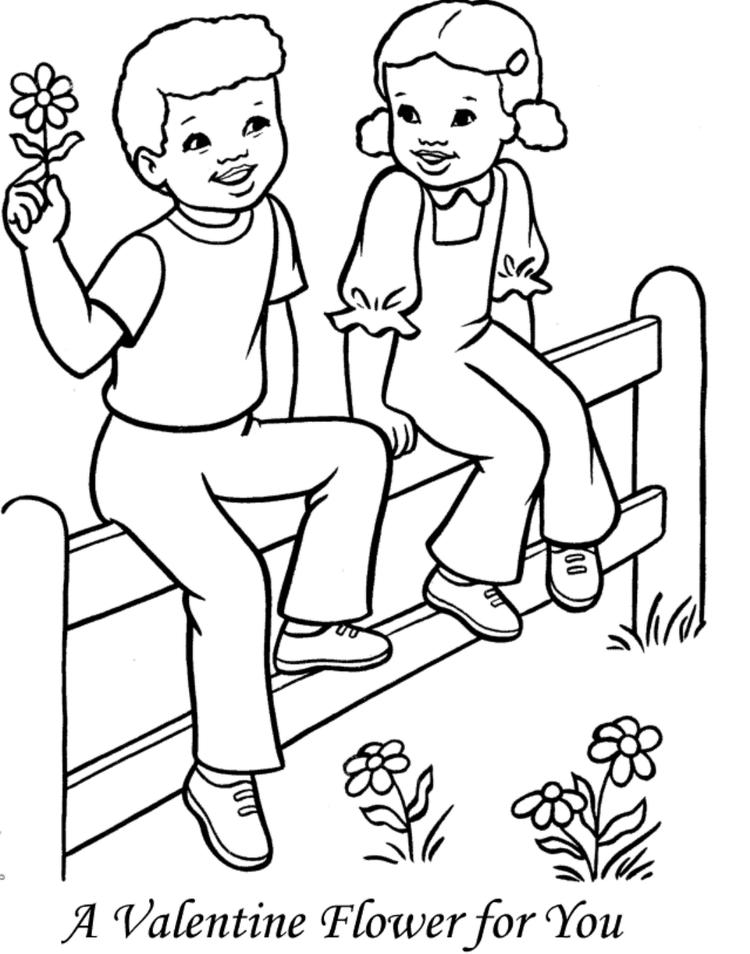 Flower Valentine Coloring Page Kids