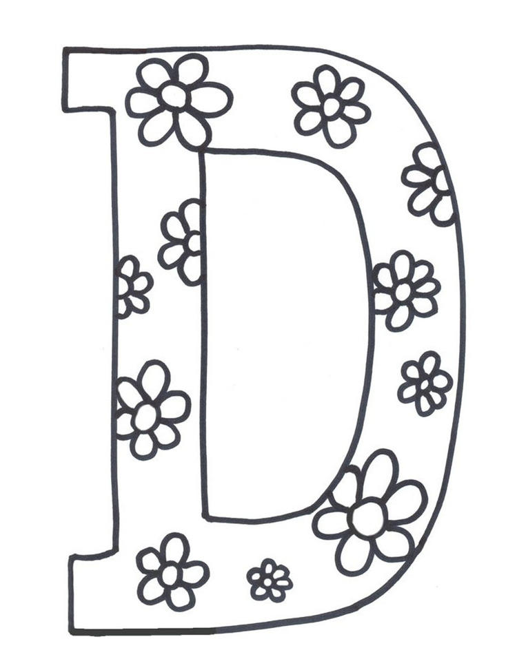 Flowerish D Printable Alphabet Coloring Pages