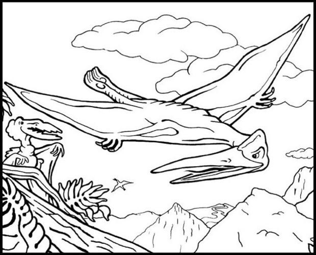 Flying Dinosaurs Coloring Pages Printable
