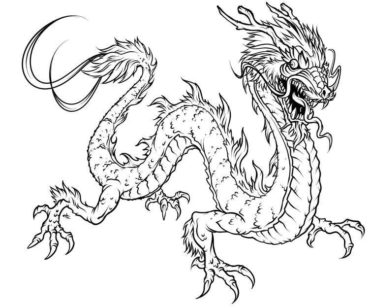 Flying Dragon Adult Coloring Pages Printable
