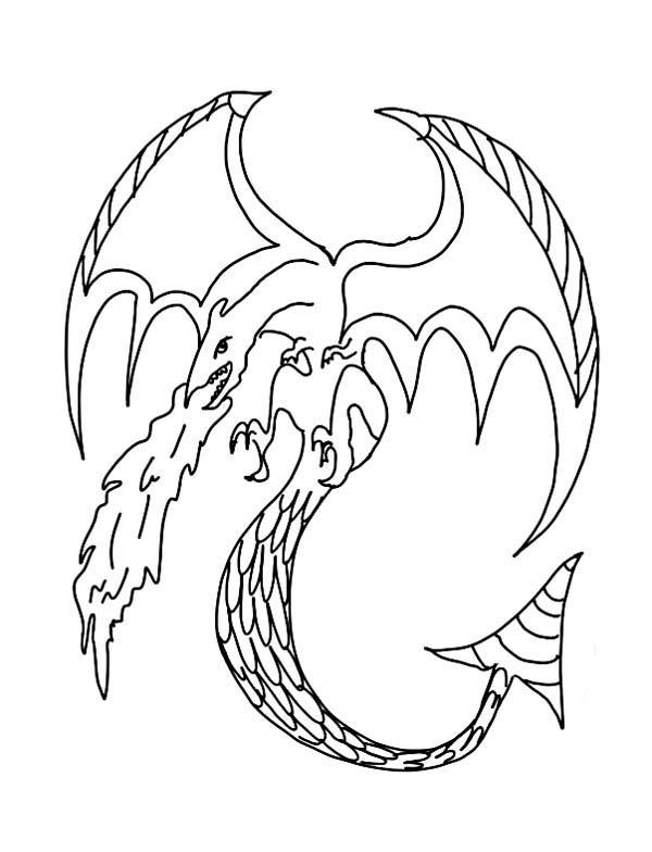 Flying Dragon Spits Fire Coloring Pages
