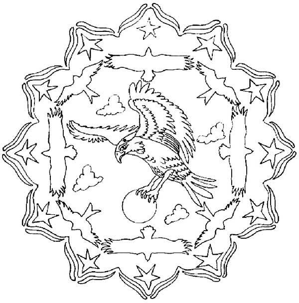 Flying Eagle Mandala Animal Coloring Pages - Coloring Ideas