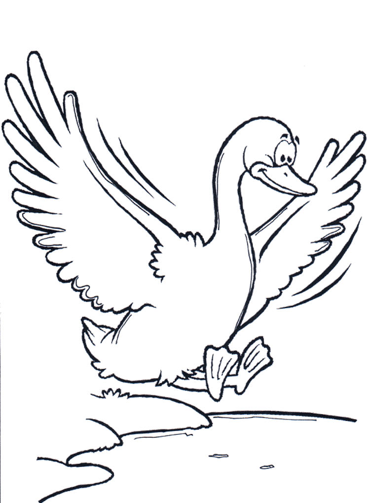 Flying Goose Printable Animal Coloring Pages