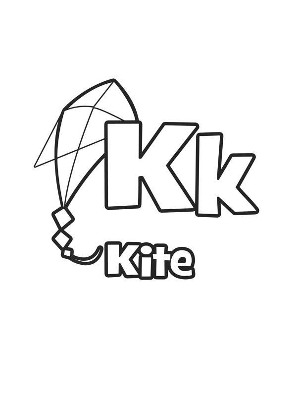 Flying Kite For Letter K Coloring Page