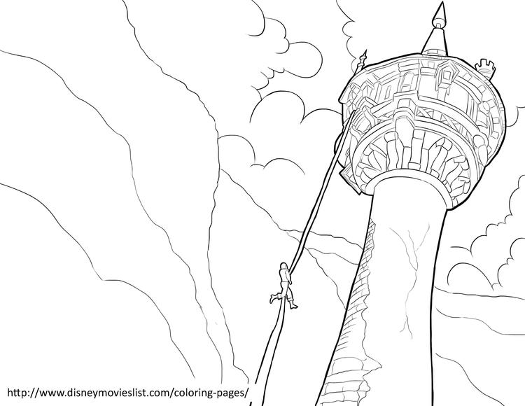 Flynn Climbs Rapunzel Tower Coloring Pages
