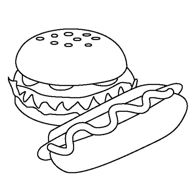 Food Coloring Pages Hamburger And Hotdog