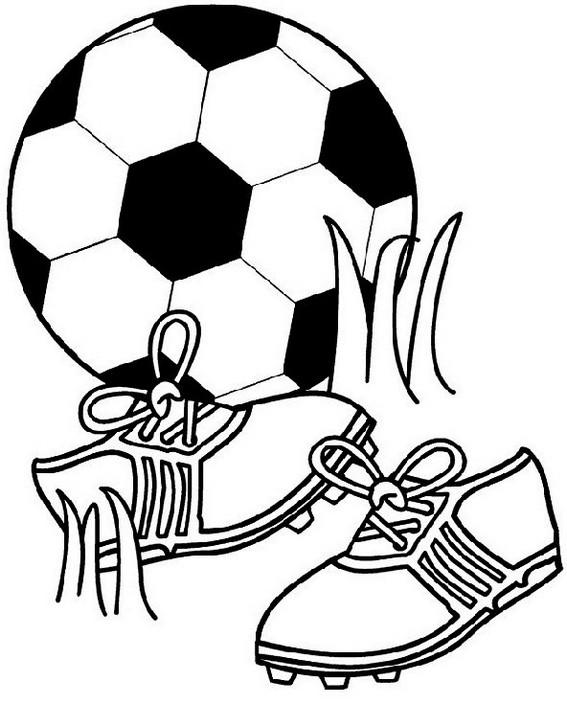 Football Kit Shoes And Ball Coloring Page