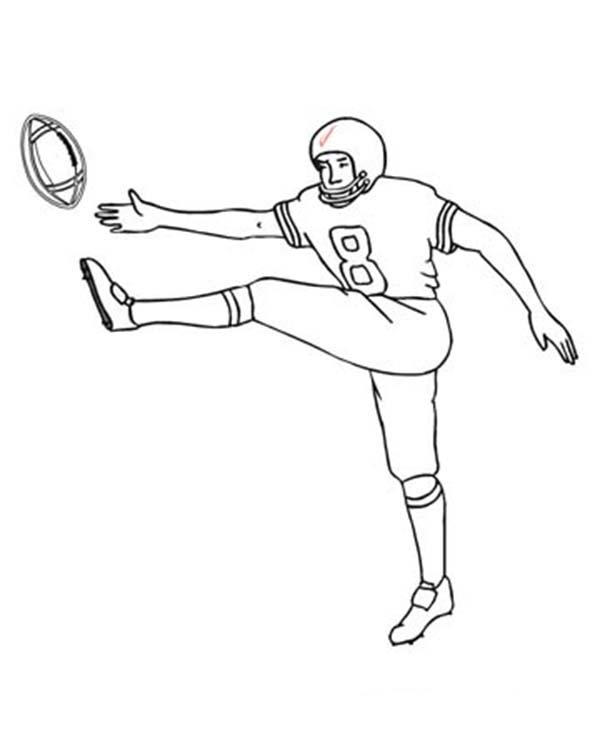 Football Player Coloring Pages Kicking Ball