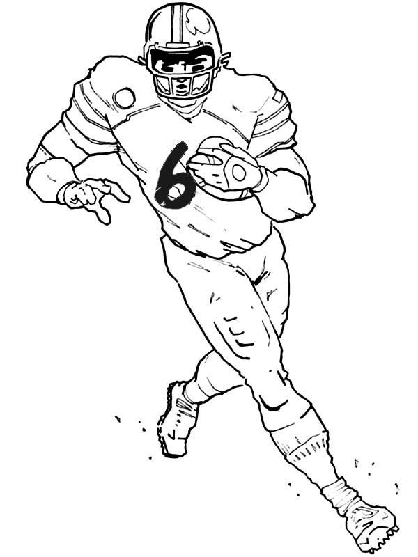 Football Player Coloring Pages Running The Ball