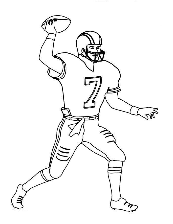Football Player Coloring Pages Throwing Ball