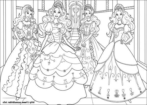 Four Beautiful Barbie And Three Musketeers Coloring Pages