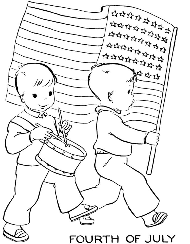Fourth Of July American Flag Coloring Page
