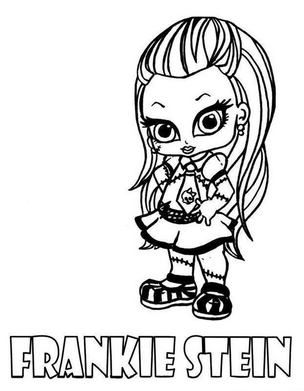 Frankie Stein Little Girl Monster High Coloring Page