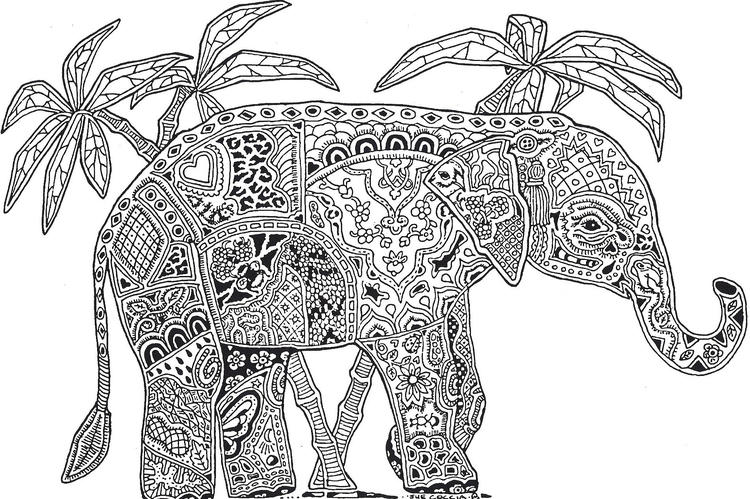 Free Abstract Elephant Coloring Pages For Adults